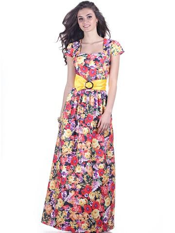 Платье laima, цвет сине-желтый