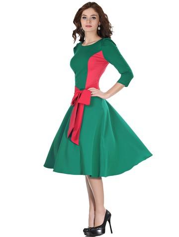 Платье dendy, цвет изумрудно-коралл