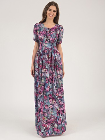 Платье ananda, цвет бирюзово-малиновый