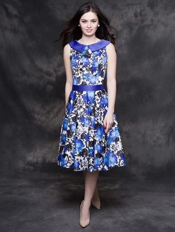 Платье galika, цвет бело-васильковый