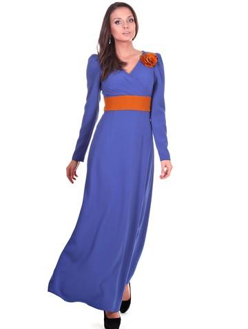 Платье amis, цвет василек с оранжевым