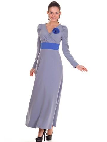 Платье amis, цвет серый с васильком
