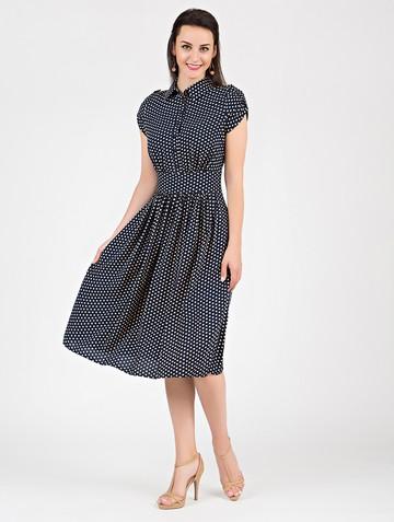 Платье retvy, цвет сине-бежевый