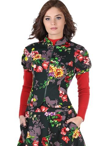 Жакет oford, цвет цветы на зеленом