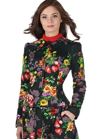 Жакет tais, цвет цветы на зеленом
