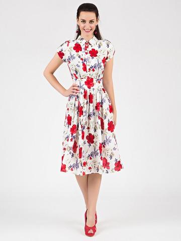 Платье retvy, цвет бело-красный