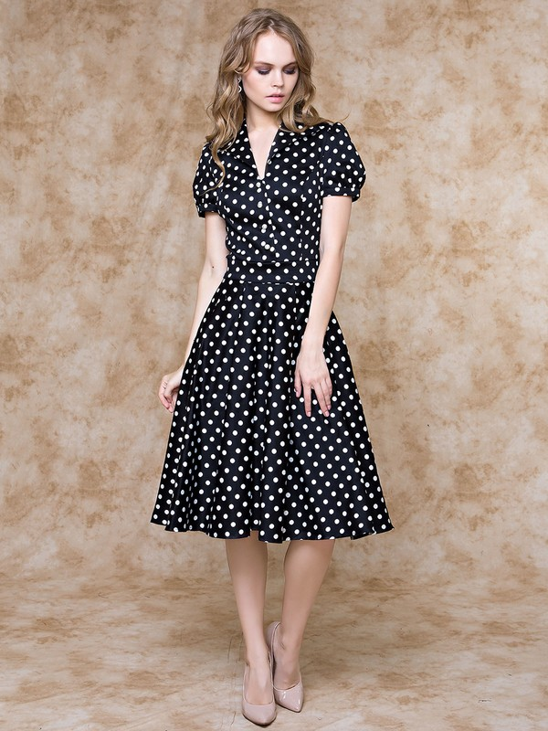 d2194de613d Купить Платье karly горошек на черном в Москве по цене 9790.0 руб в ...